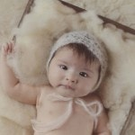 3 month baby girl cream bonnet