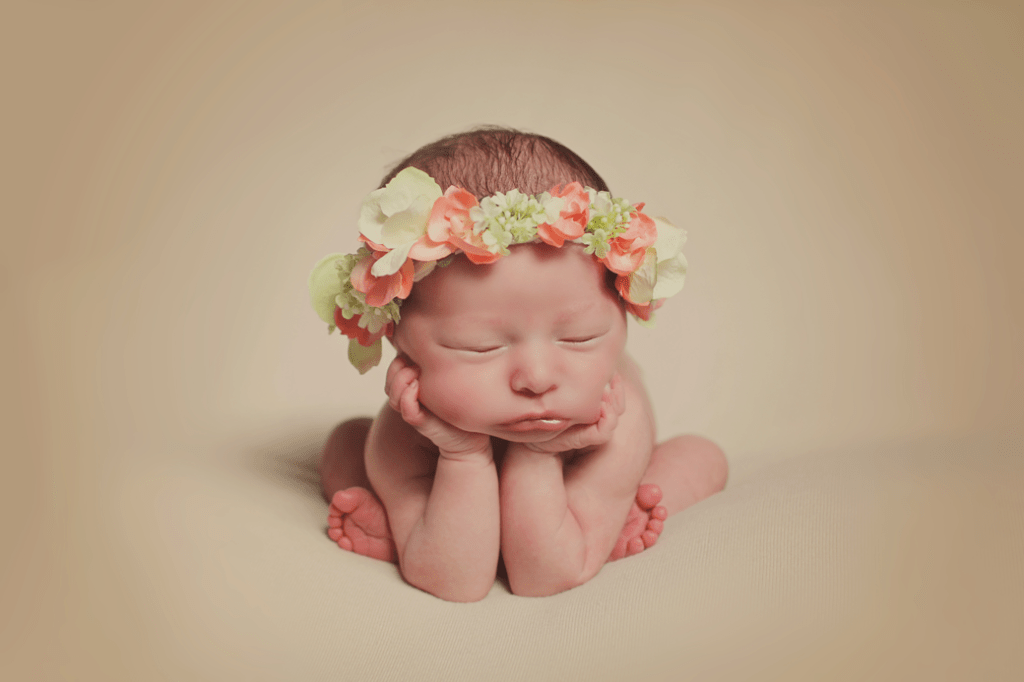New Orleans newborn girl froggy pose