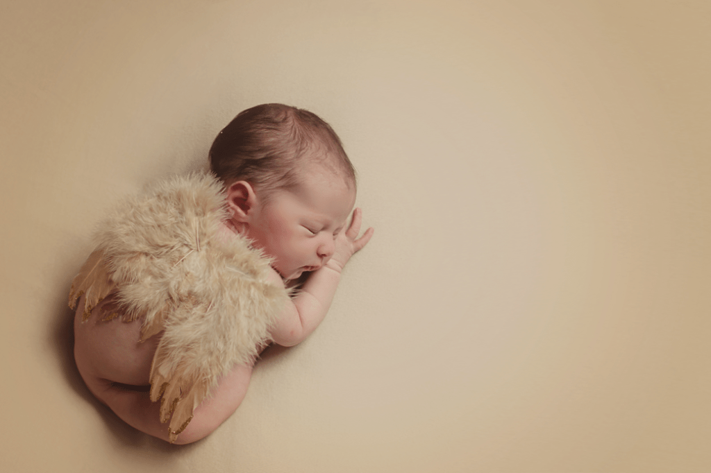 Newborn with angel wings