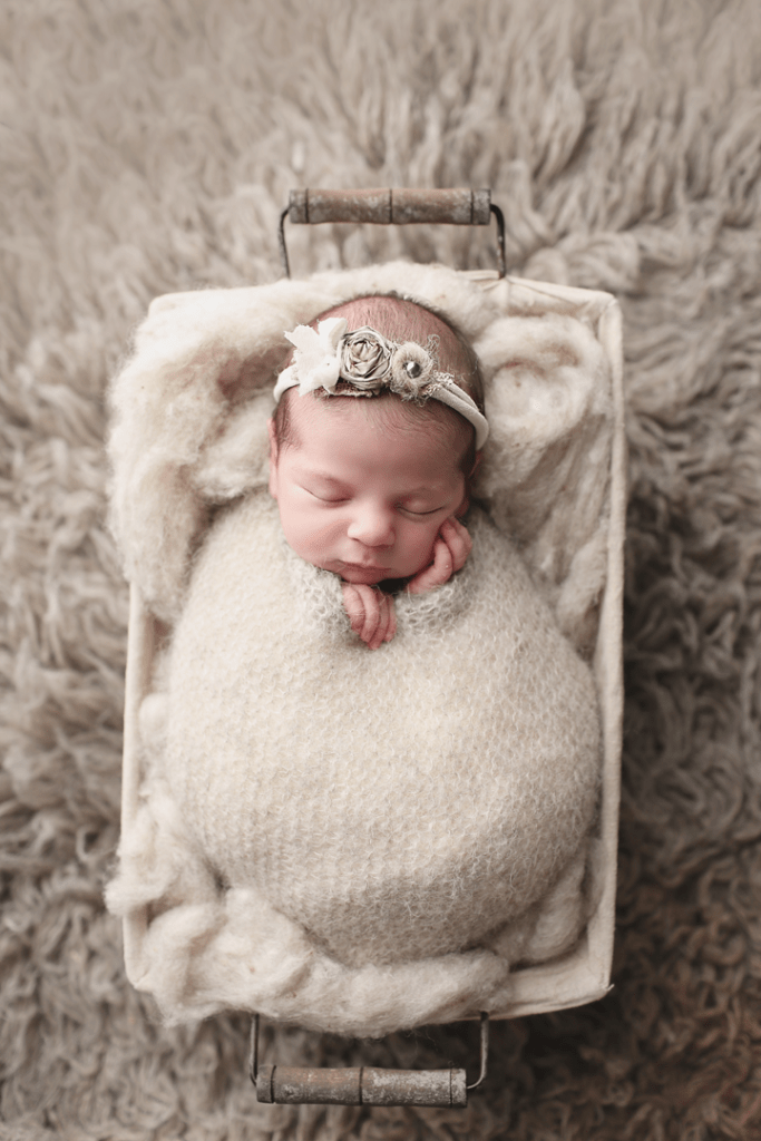 Newborn-girl-in-gray-basket