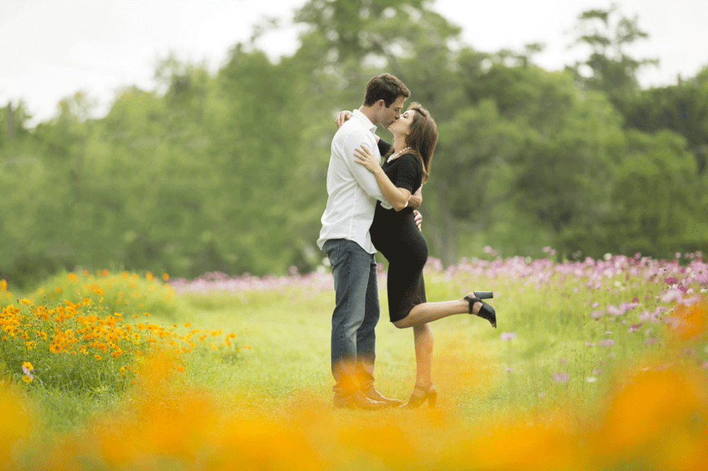 Gorgeous maternity session in the wildflowers at New Orleans City Park