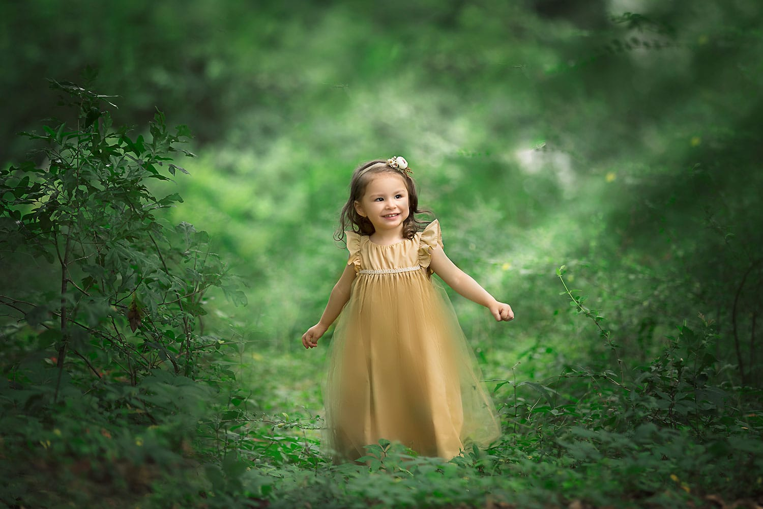 Girl in forest by Annie Whitaker Photography