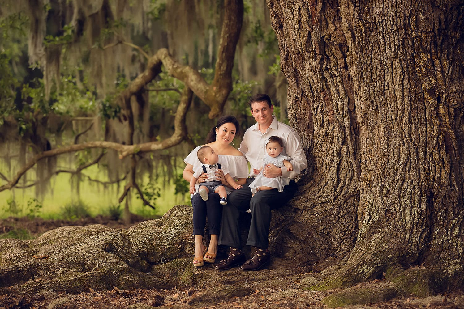 Family sitting in big oak tree by Annie Whitaker Photography