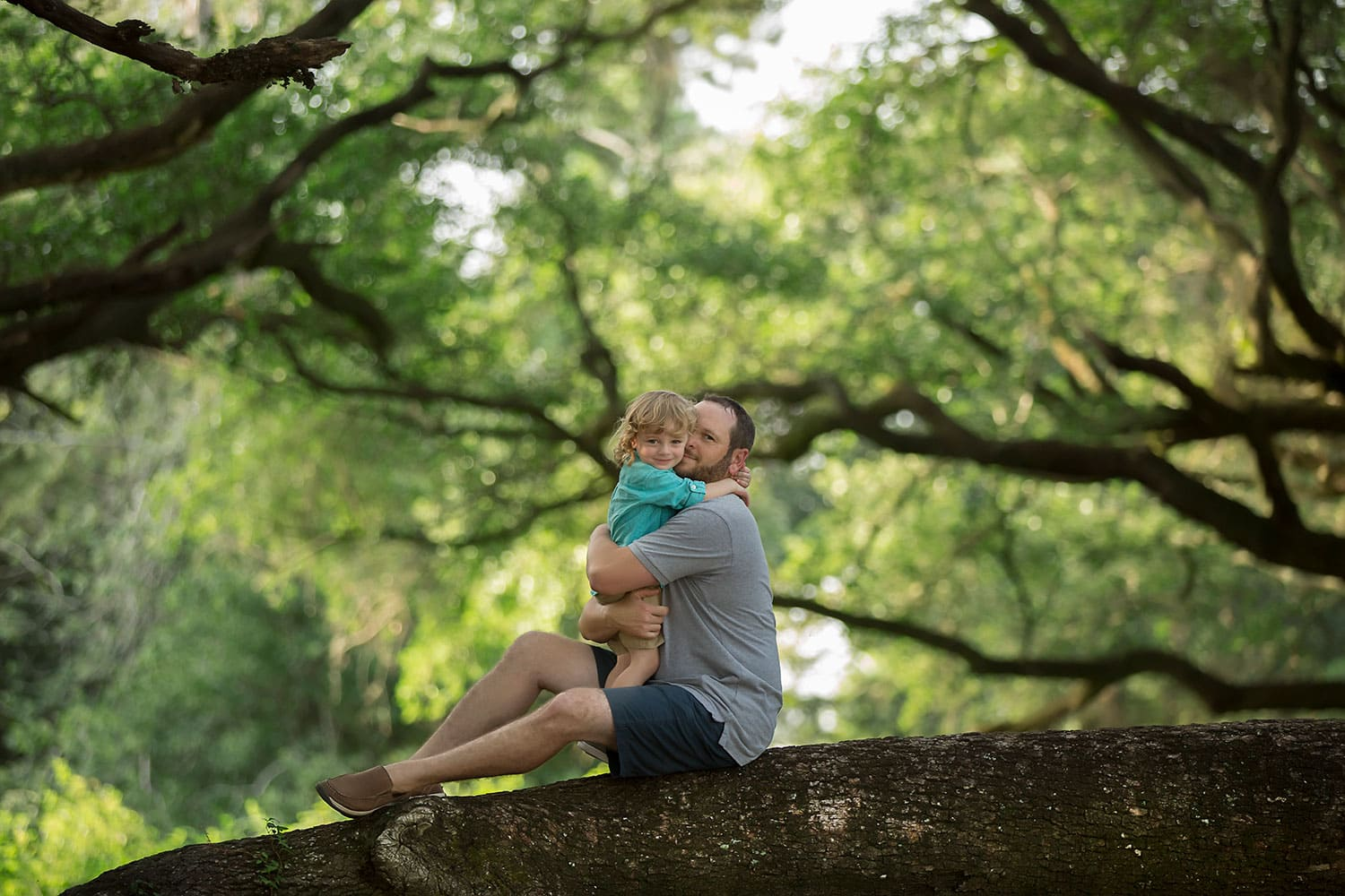 Dad and son climbing tree by Annie Whitaker Photography