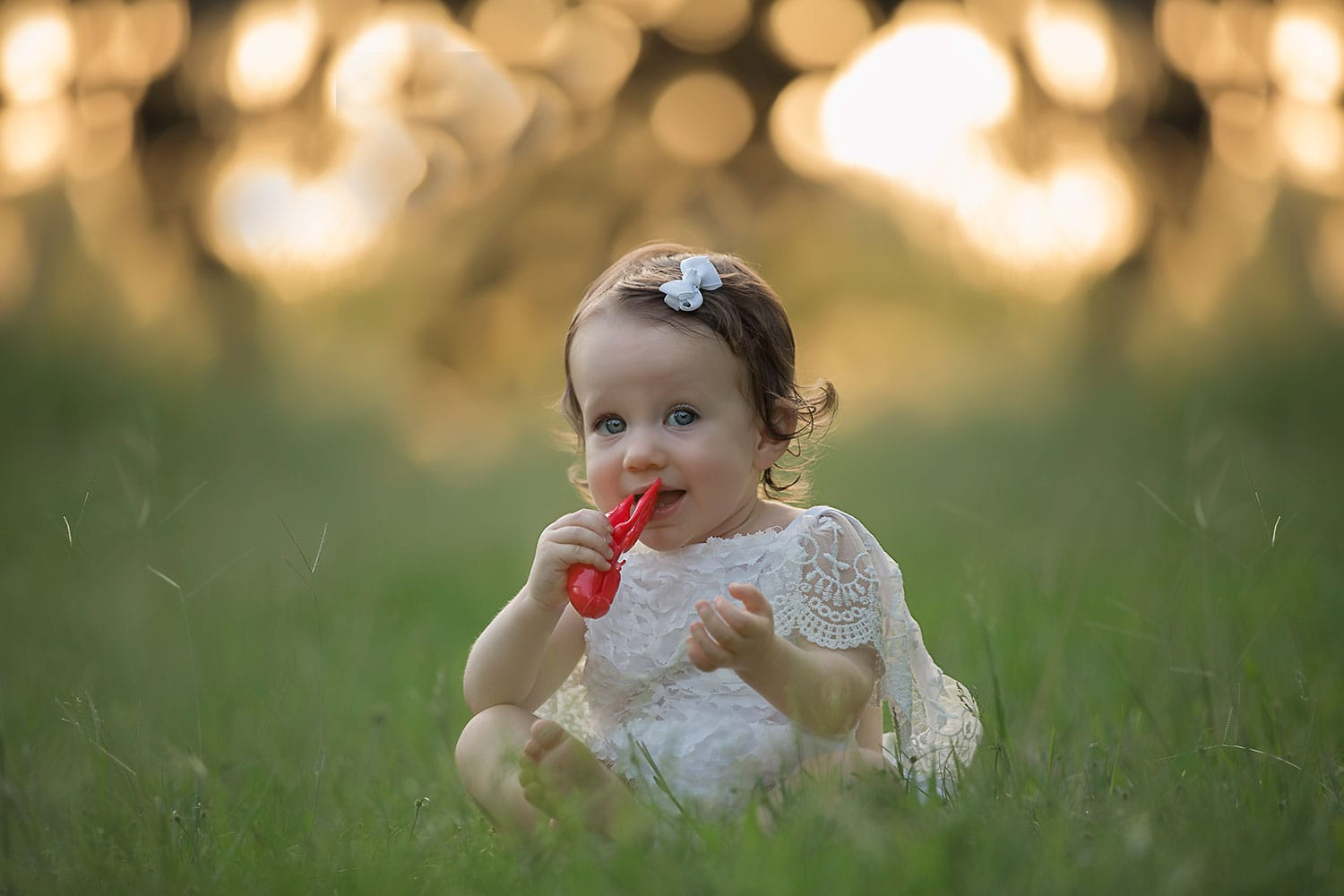 Louisiana baby girl with crawfish by Annie Whitaker Photography