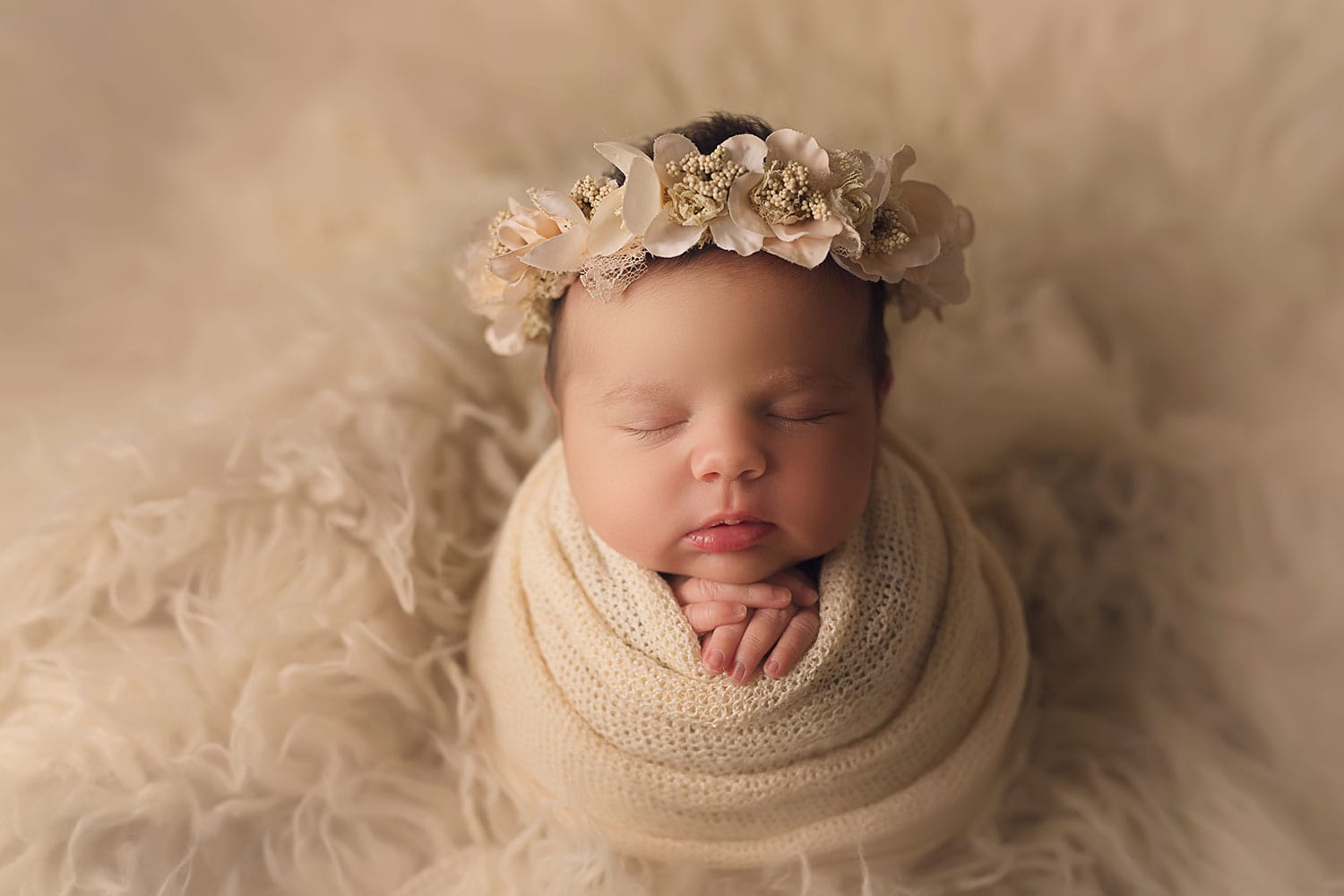 Precious cream set up of newborn by Annie Whitaker PHotography