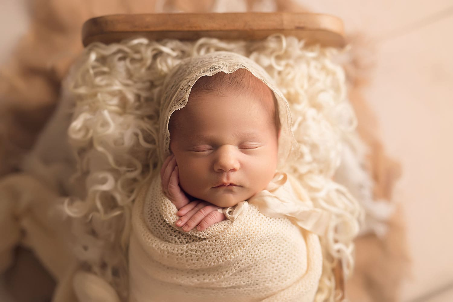 baby girl wearing vintage bonnet by Annie Whitaker Photography