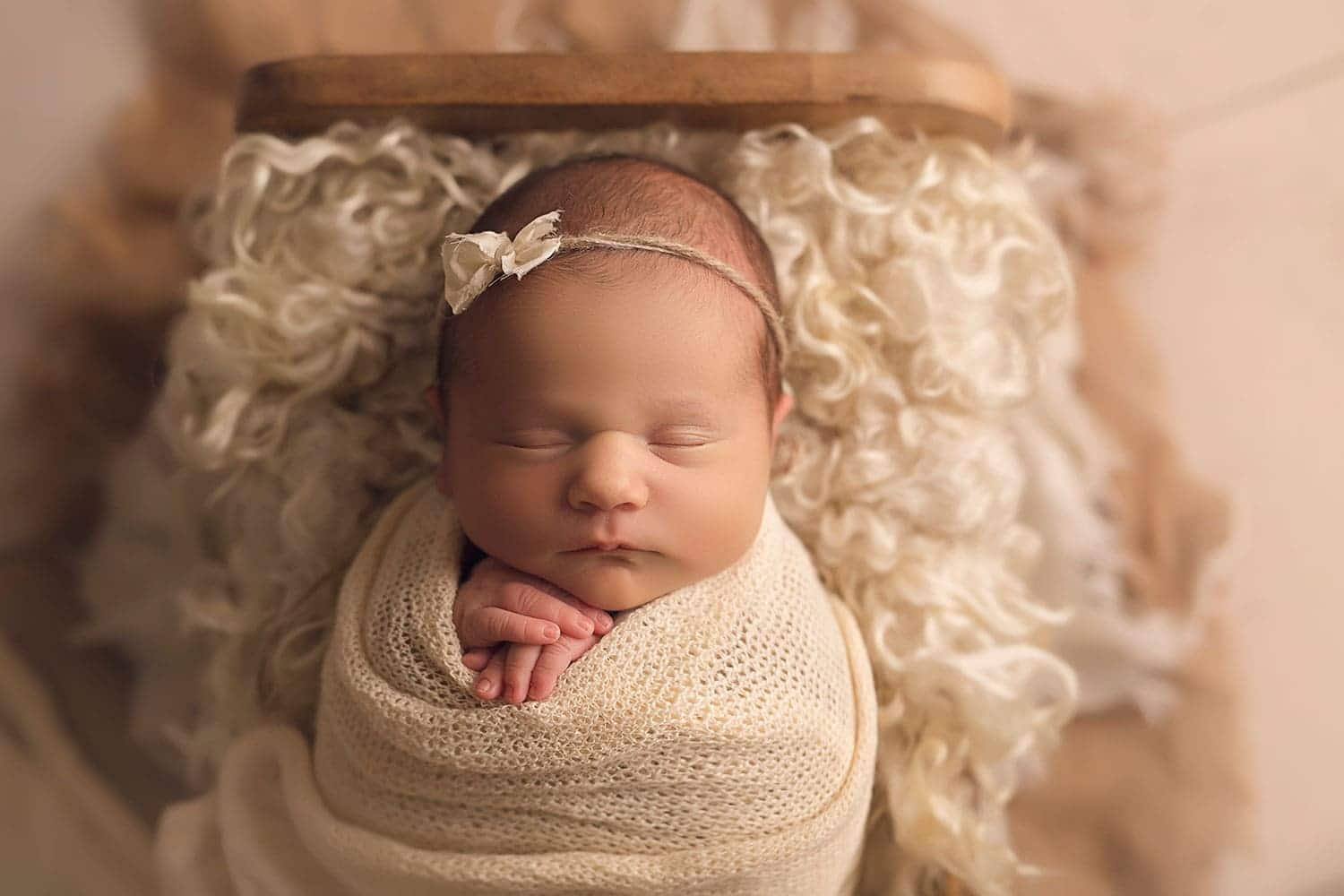 all cream newborn set up by annie whitaker Photography