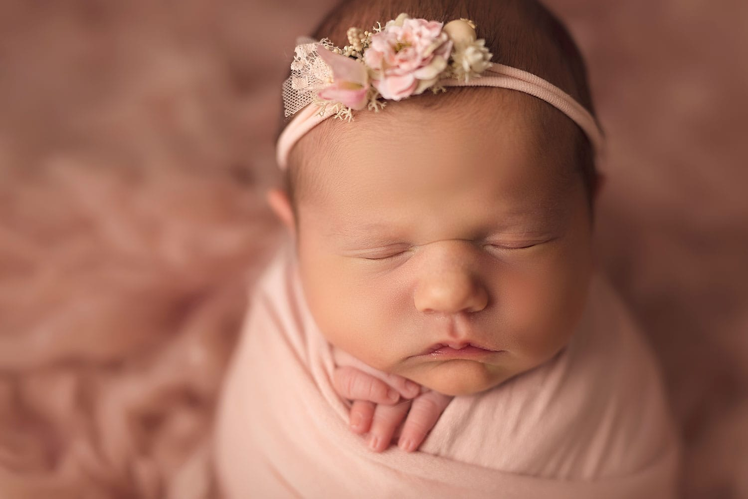 close up of newborn girl by Annie Whitaker Photography