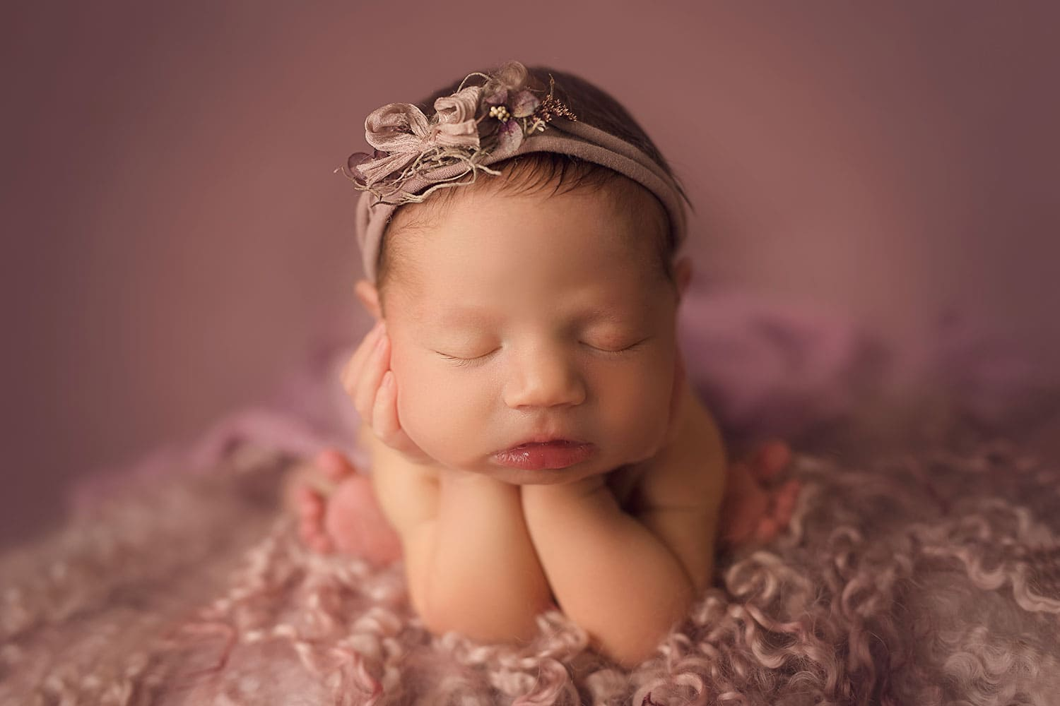 mauve newborn set up by Annie Whitaker PHotography