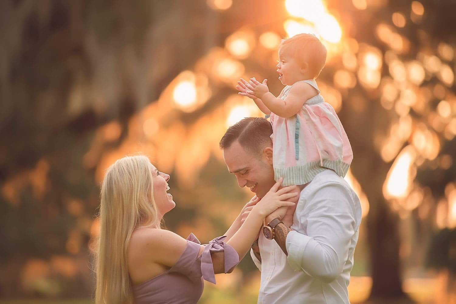 Sweetest family photo at sunset at Fontainebleau State Park