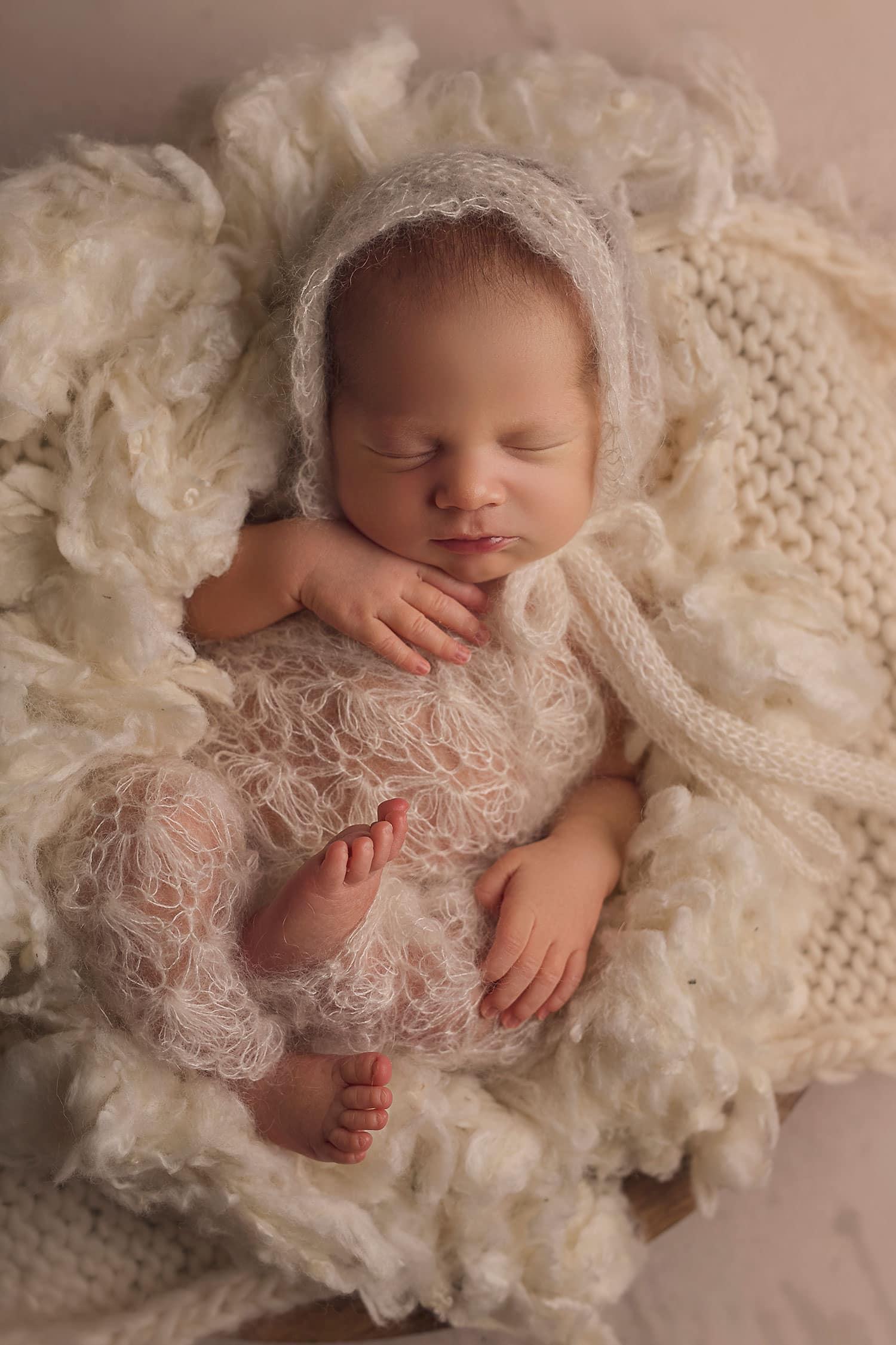 Sweet baby girl in cream lace romper by Annie Whitaker Photography