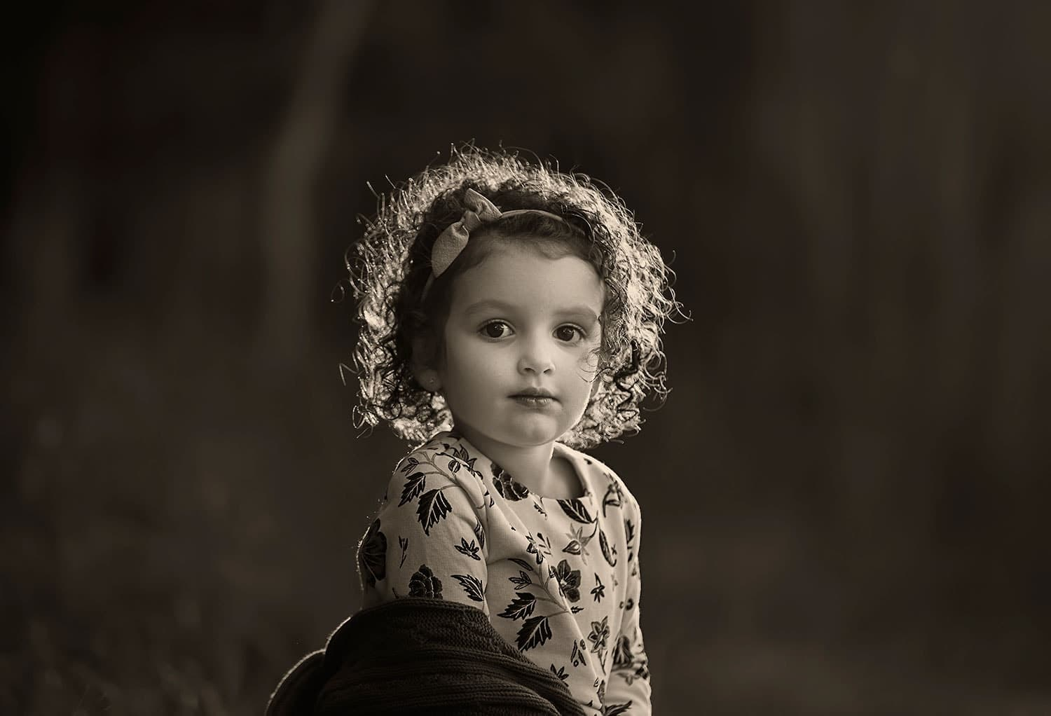 black and white photo of girl by Annie Whitaker Photography