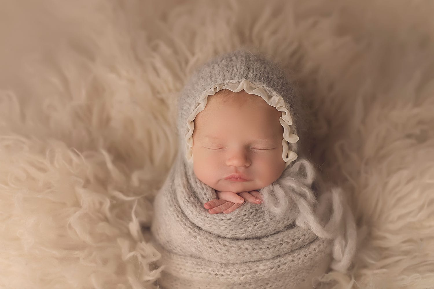 Potato sack pose with grey wrap by Annie Whitaker Photography