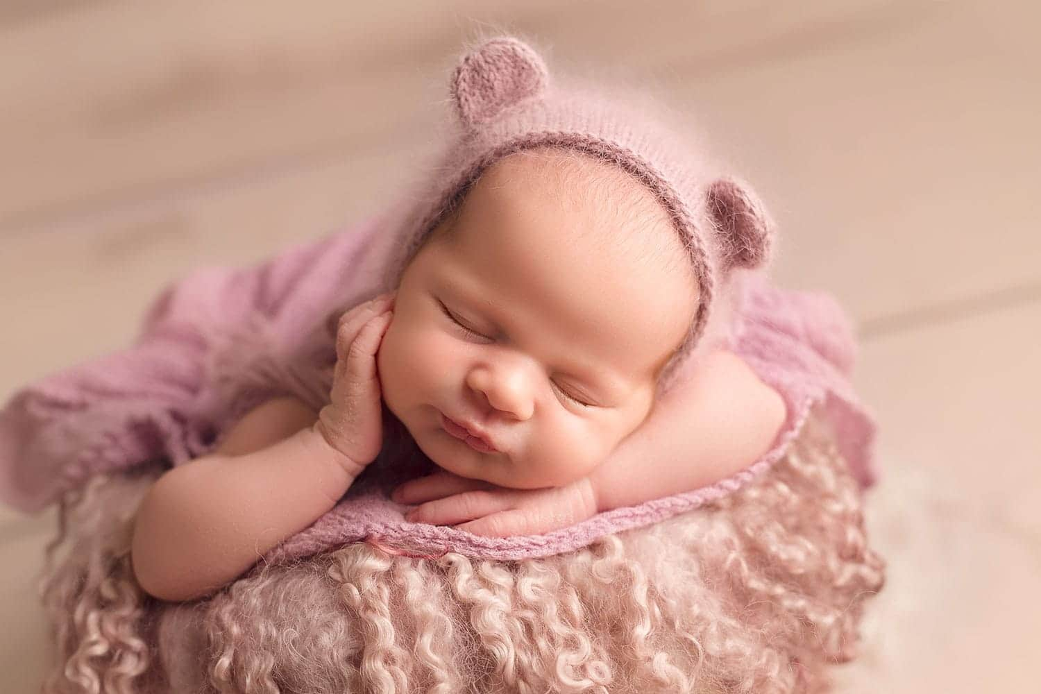 Heartstrings by susi bear bonnet on newborn girl
