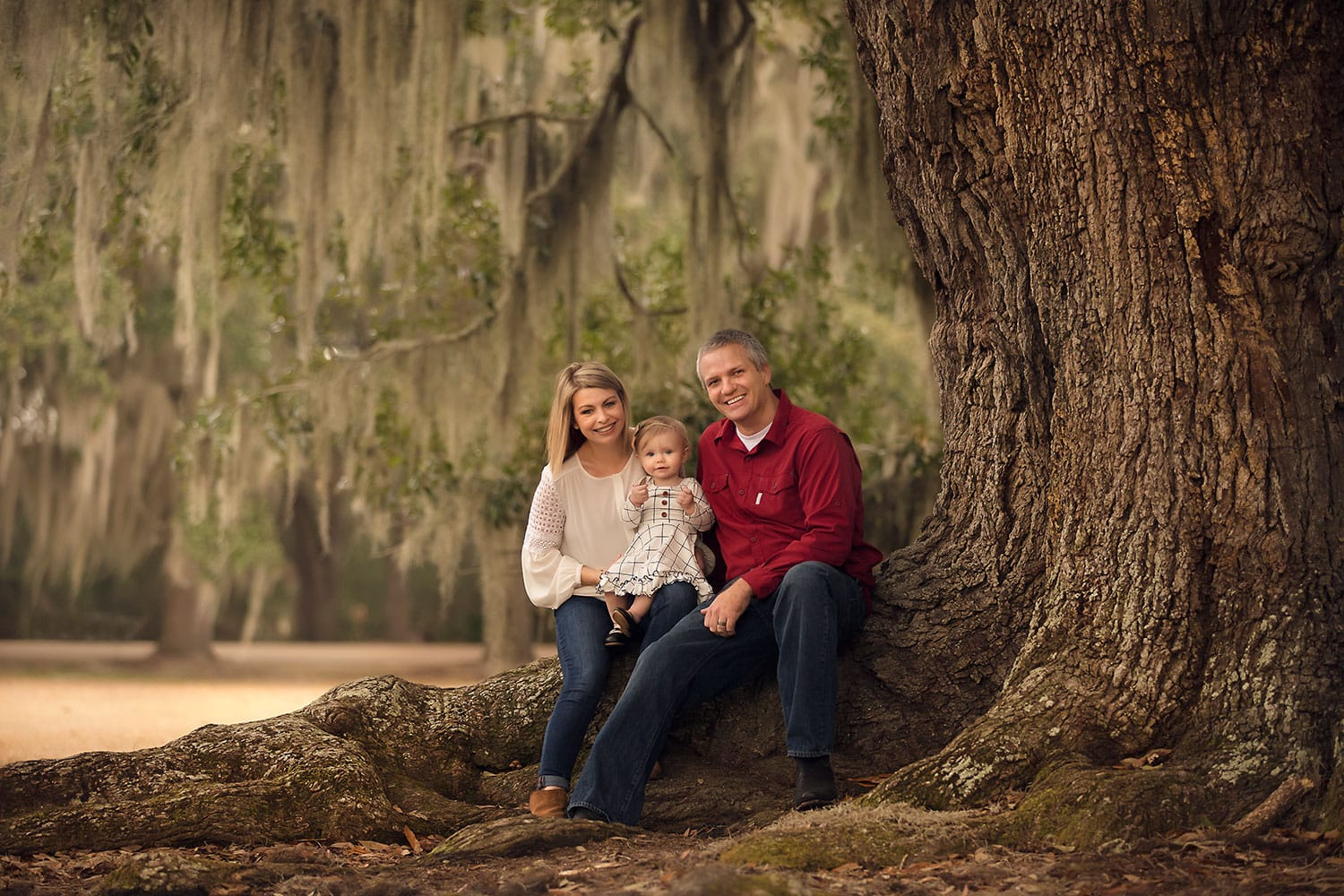 Family of three sitting in large oak tree by Annie Whitaker Photography