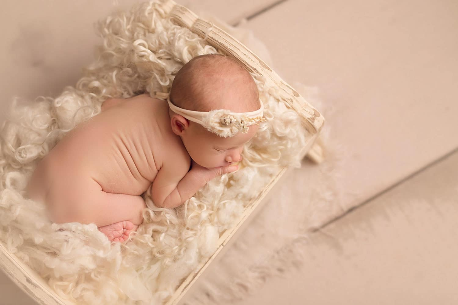 newborn girl in tiny bed by Annie Whitaker Photography