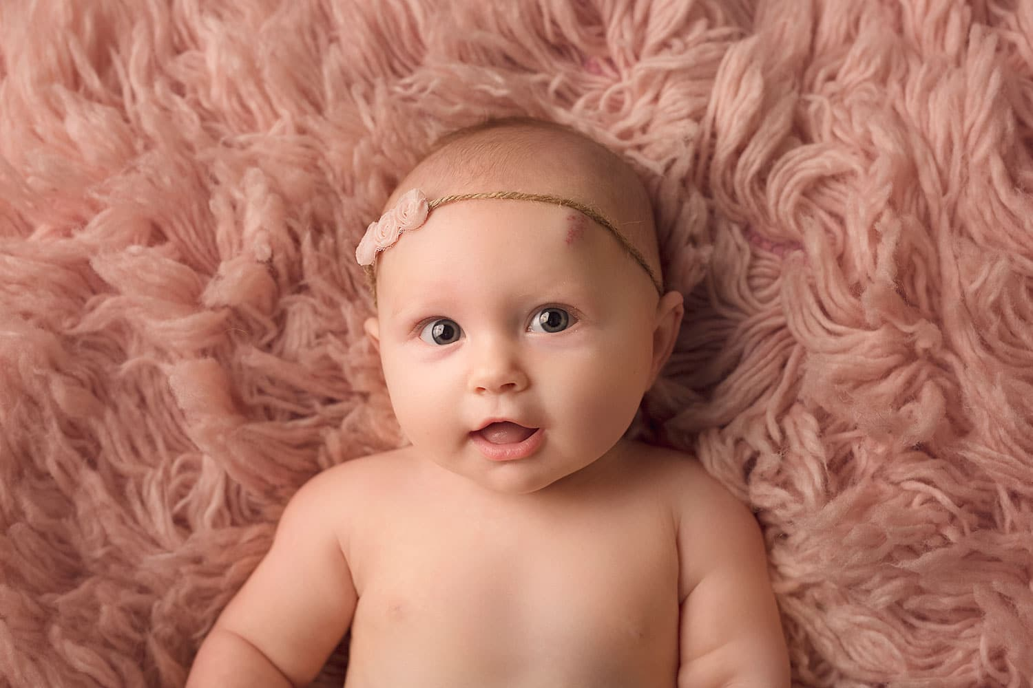 3 month old baby girl on pink flokati by Annie Whitaker Photography