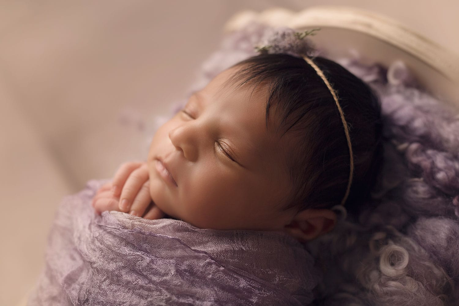 baby girl in purple by Annie Whitaker Photography