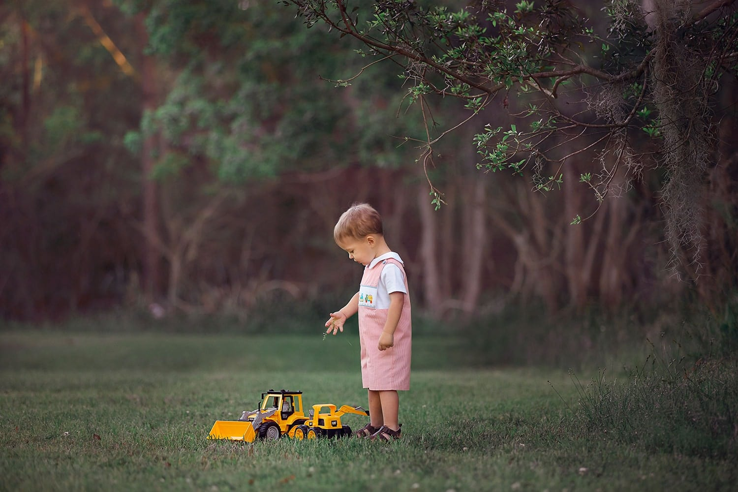 Baby boy with tractors by Annie Whitaker Photography