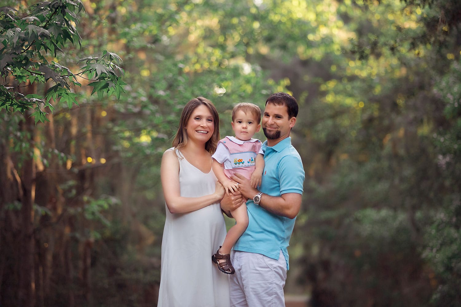 Family of three photo session at Fontainebleau State park by Annie Whitaker Photography