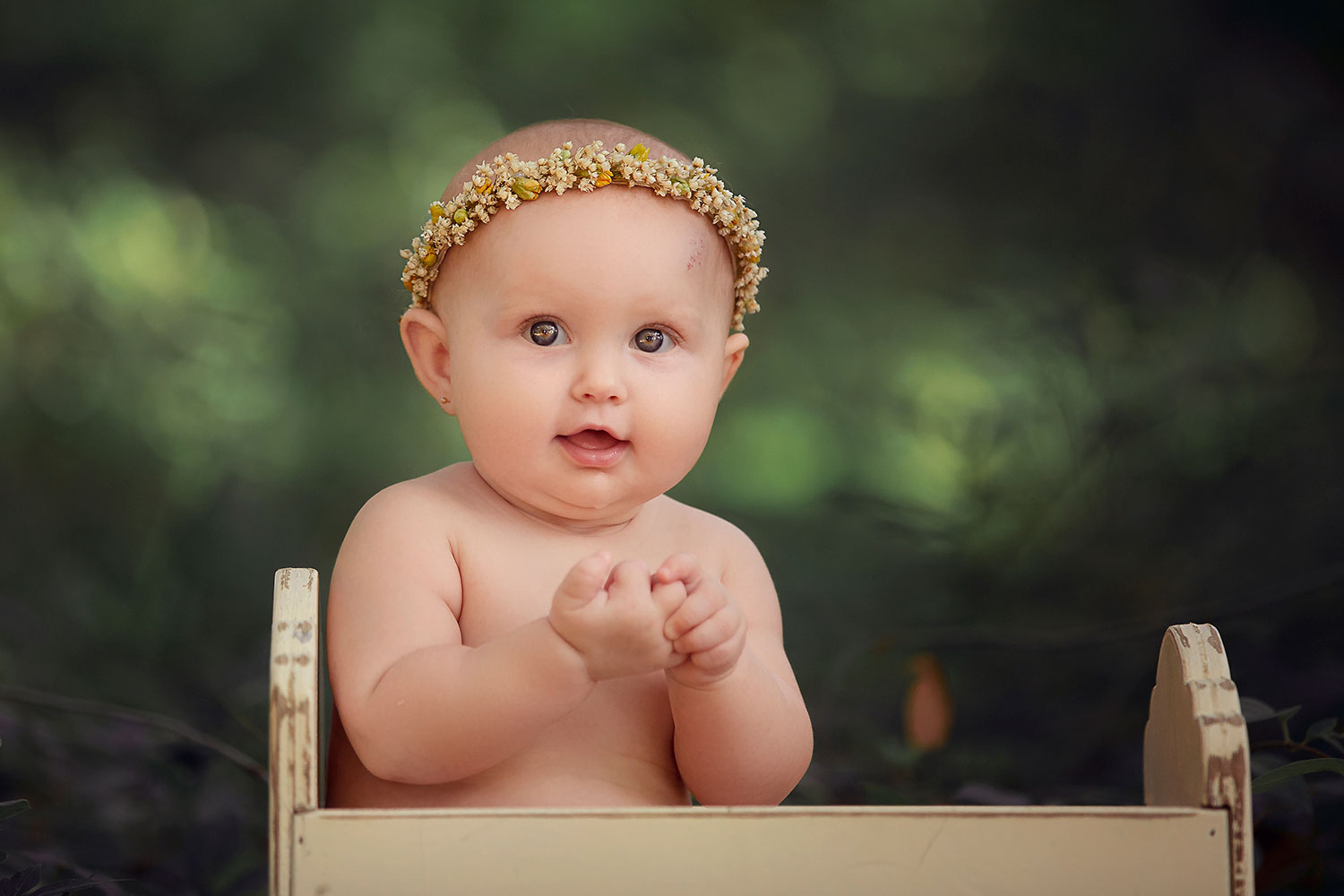 baby girl in flower crown by Annie Whitaker Photography