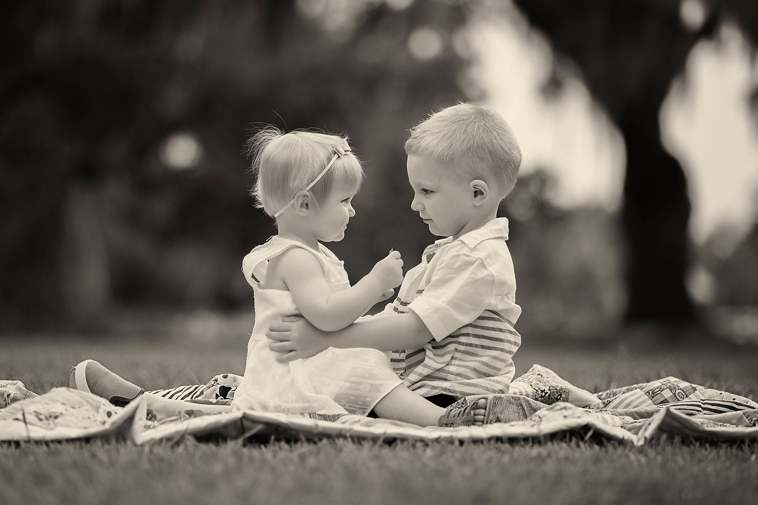 black and white photo of brother and sister by Annie Whitaker Photography