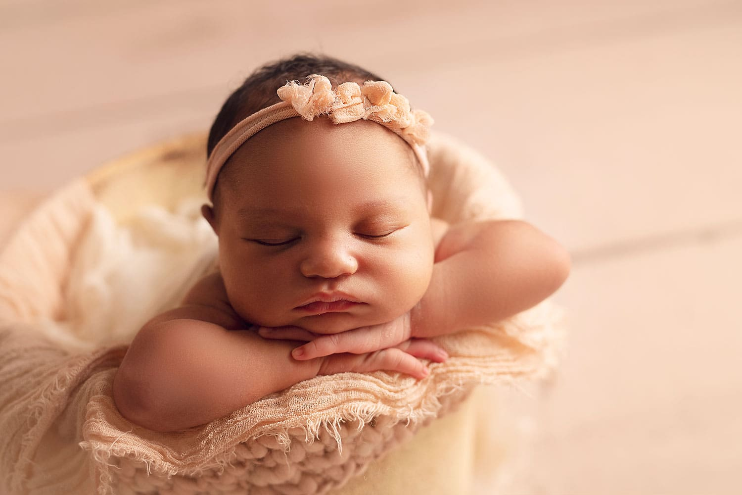 Peach newborn set up by Annie Whitaker Photography