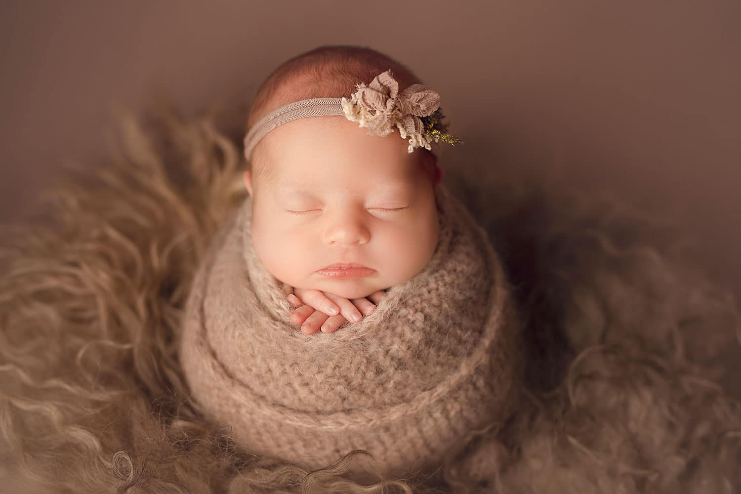 newborn girl in potato sack pose by Annie Whitaker Photography