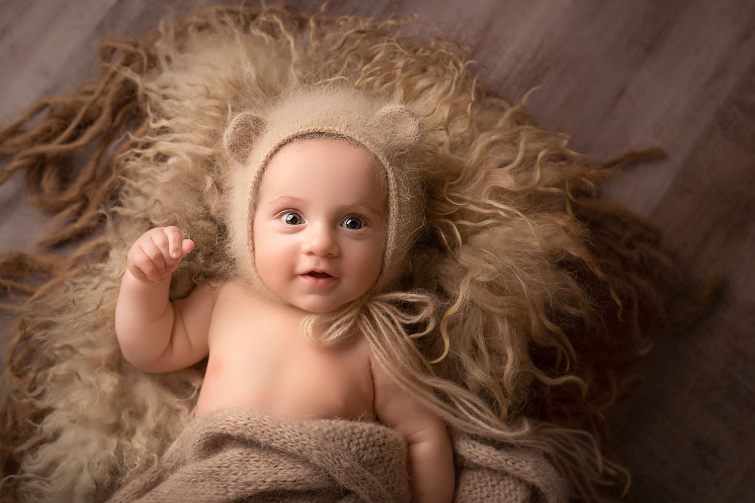 4 month old baby boy in bear bonnet by Annie Whitaker Photography