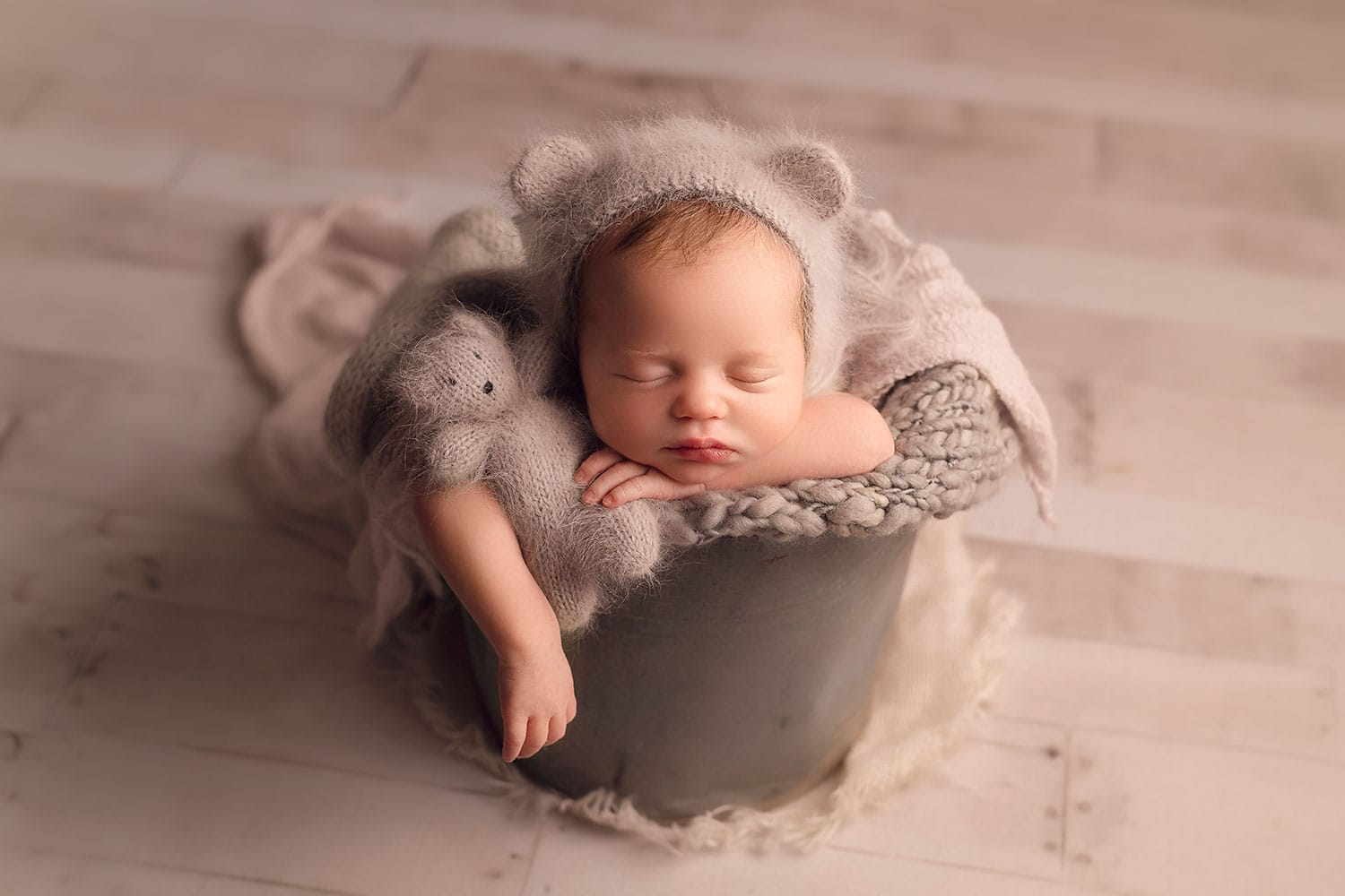 Baby boy with bear lovie by Annie Whitaker Photography