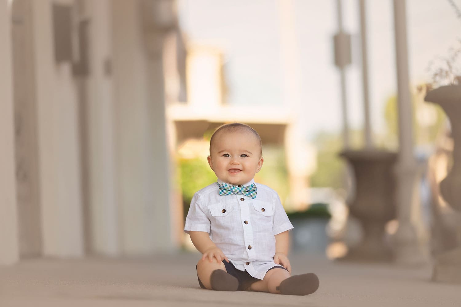 baby boy in bow tie by Annie Whitaker Photography