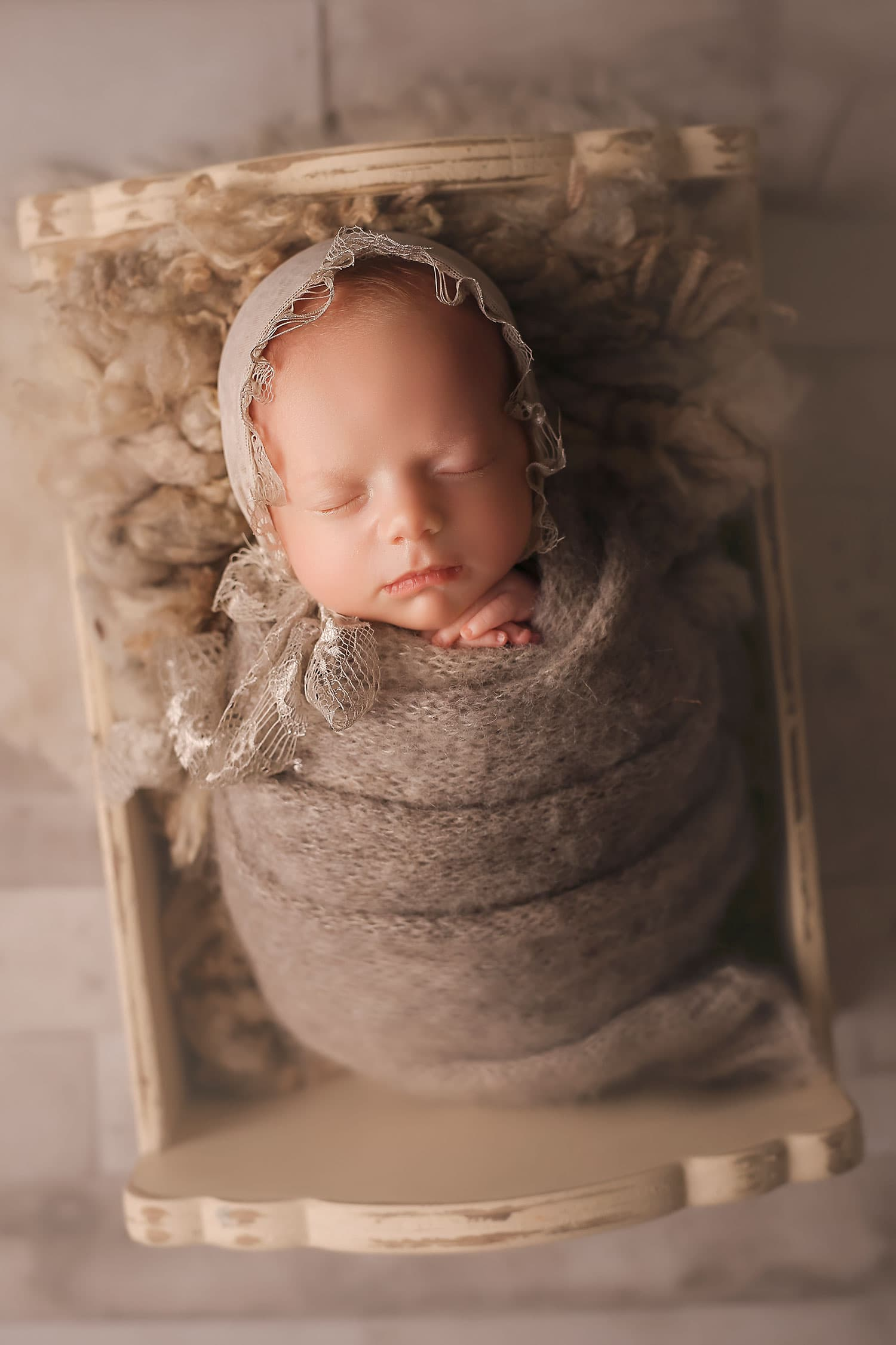 grey newborn set up by Annie Whitaker Photography