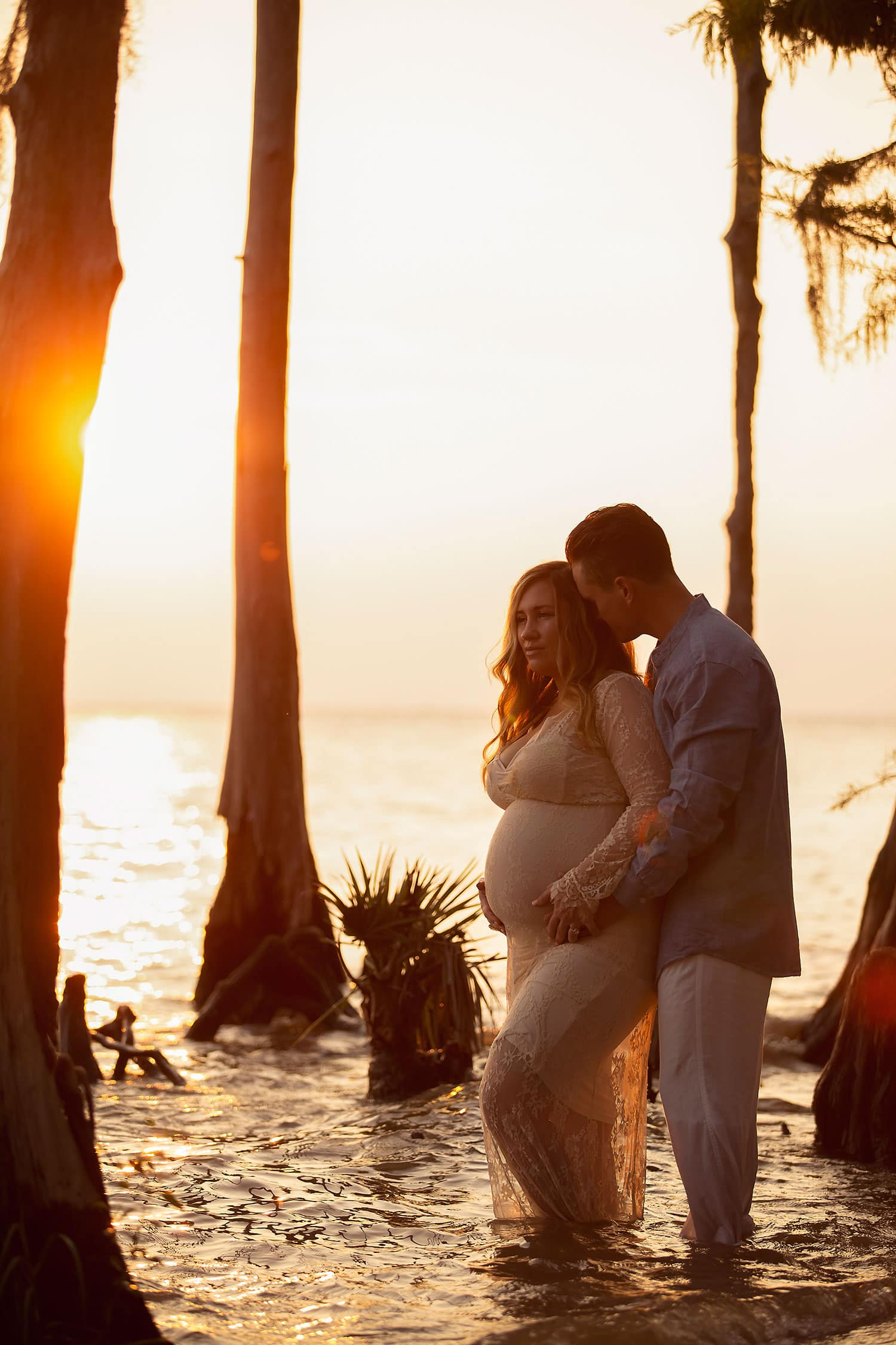 maternity session at the beach at fountainebleau State Park