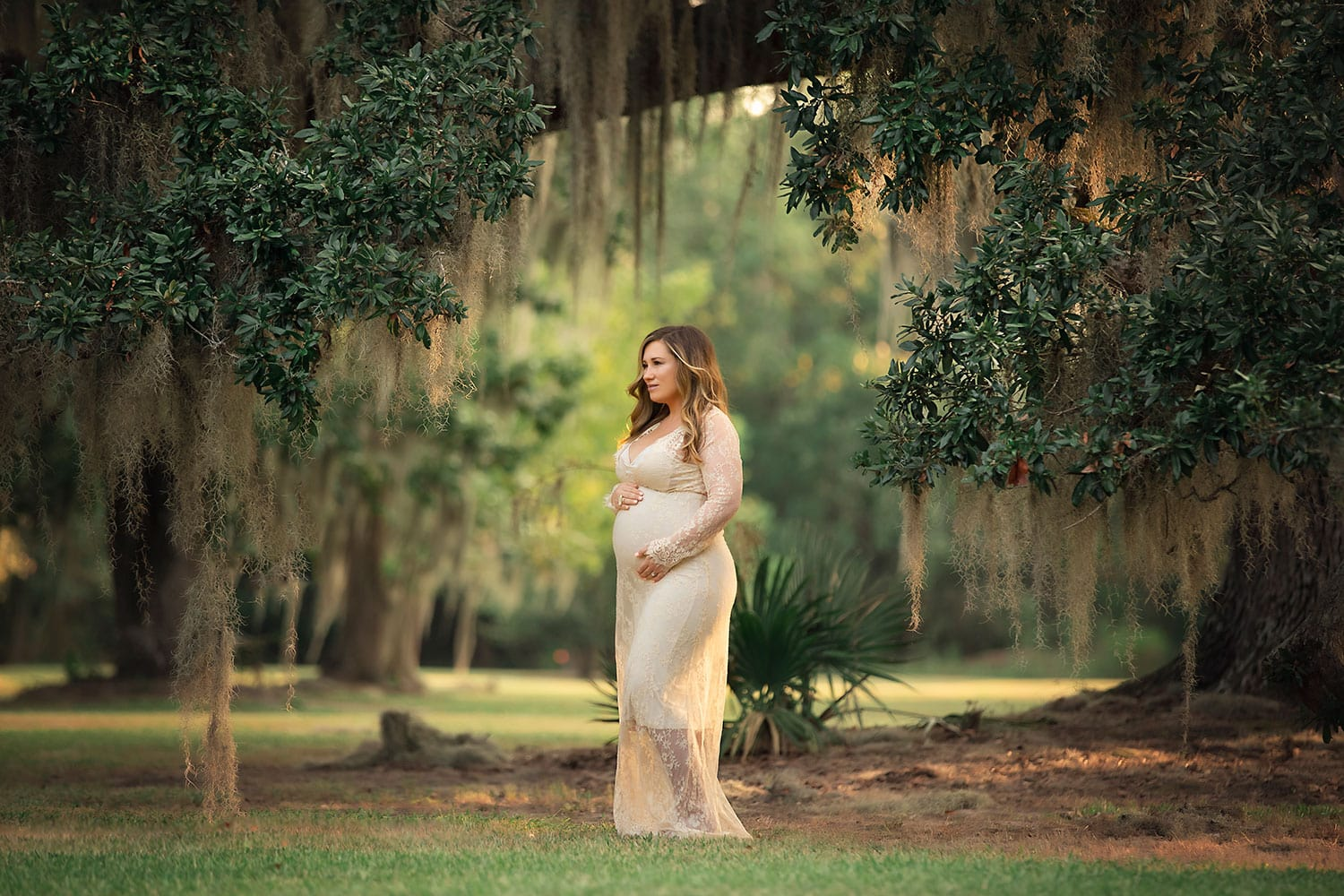 maternity session under the oak trees at Fontainebleau State Park