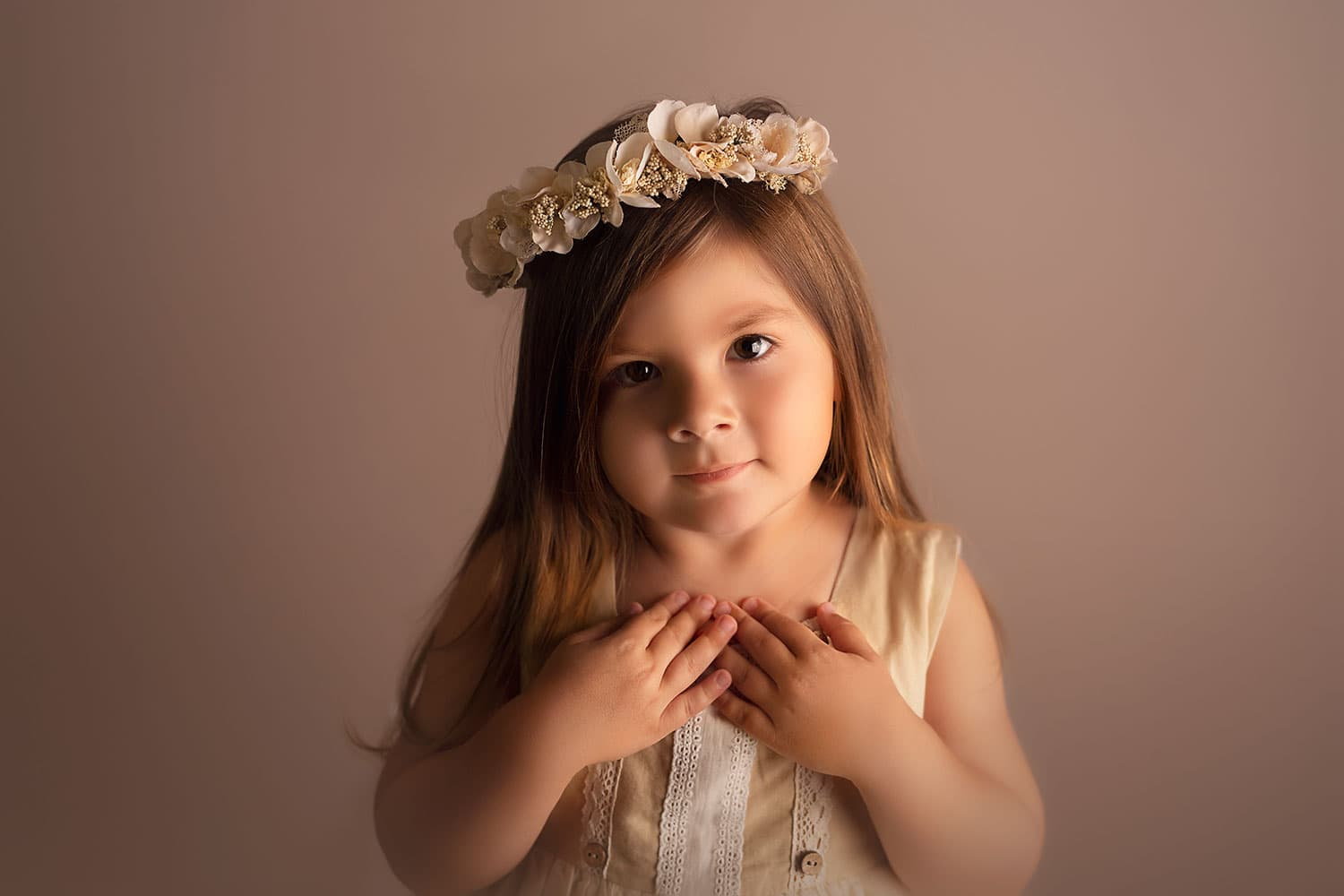 beautiful 3 year old girl in flower crown by Annie Whitaker Photography