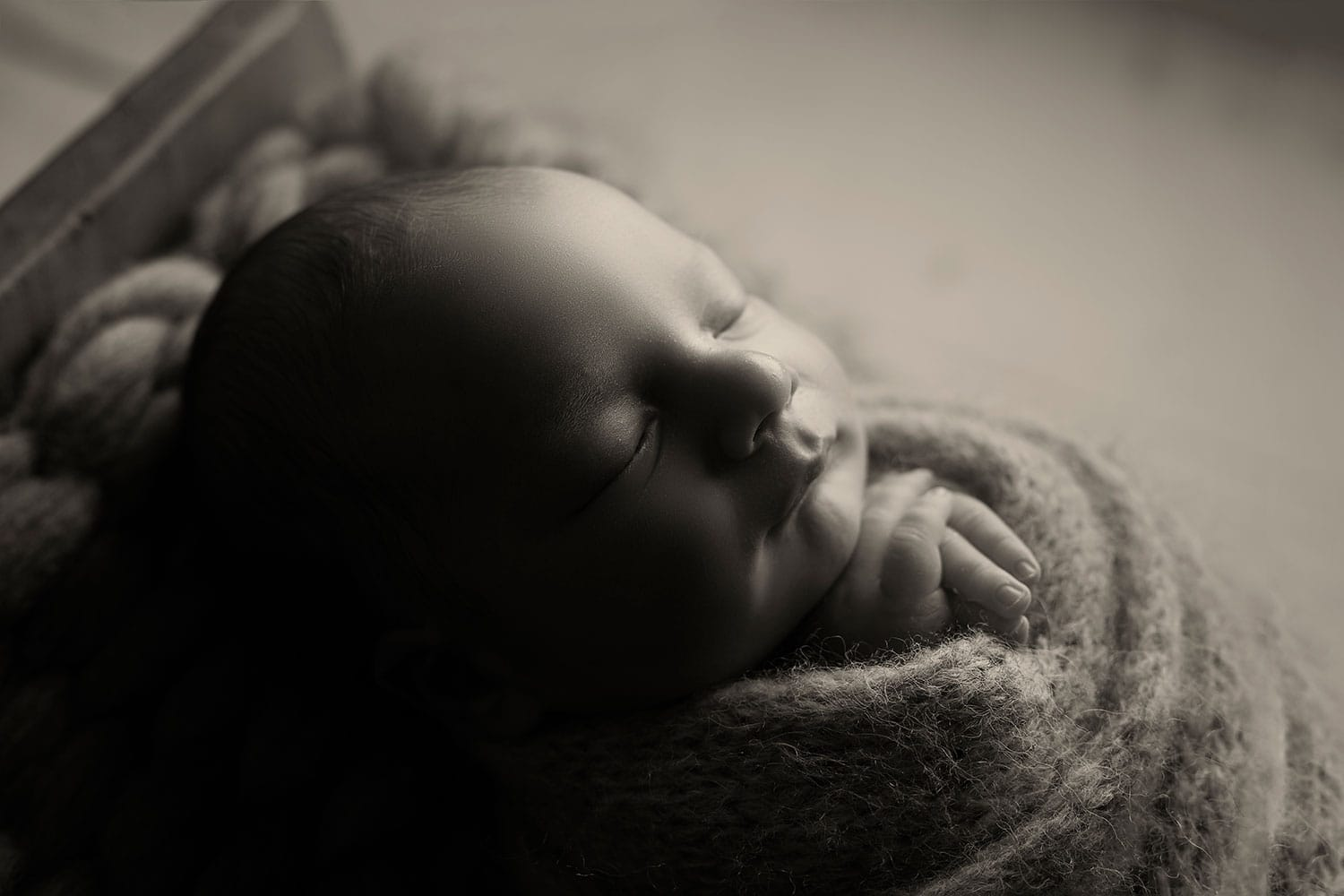 black and white photo of newborn boy by Annie Whitaker Photography