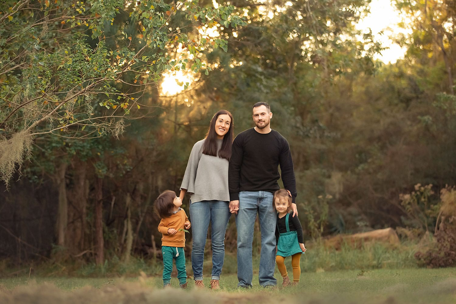 Family of four session at fontainebleau state park in Mandeville LA