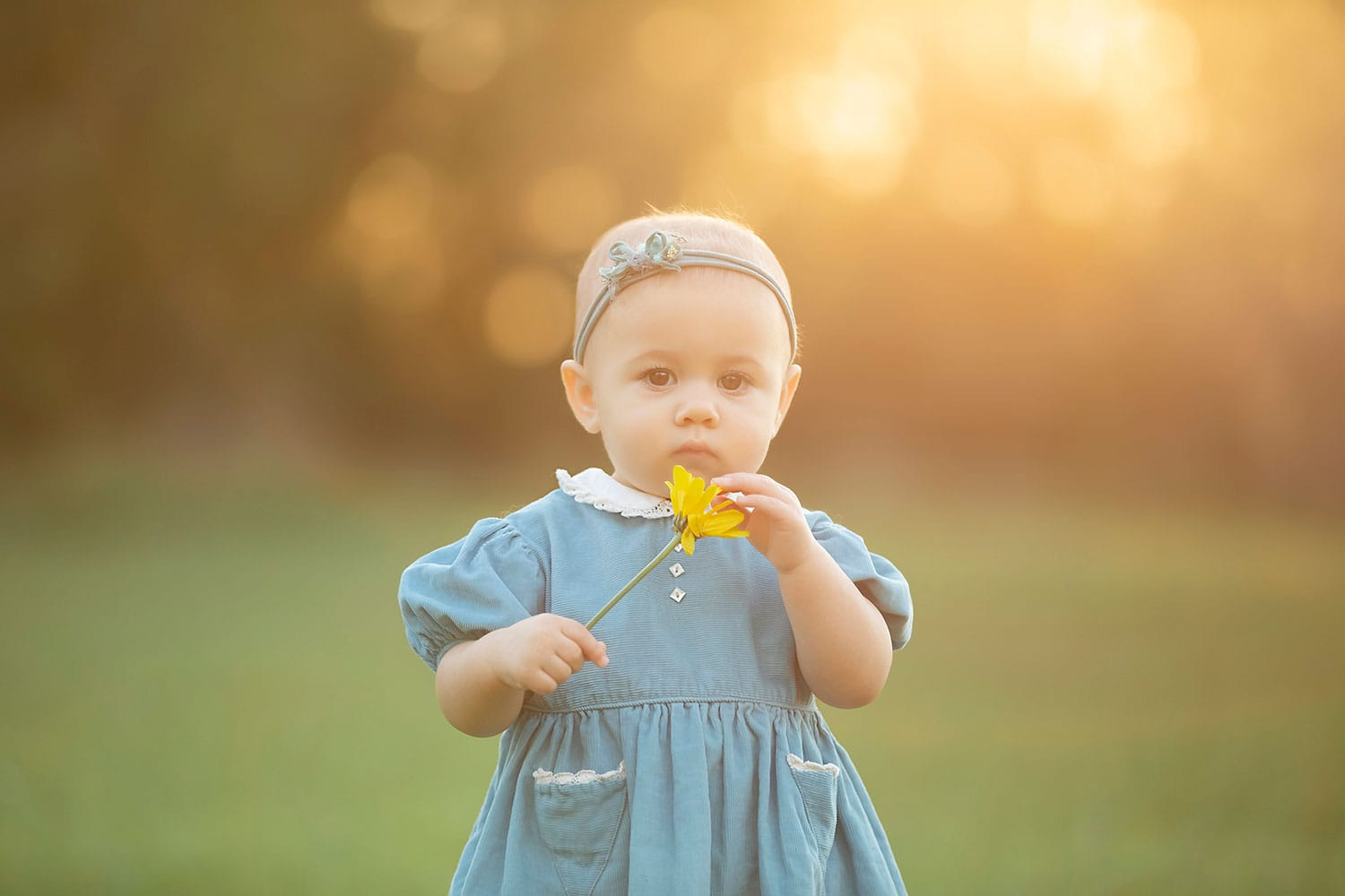 Beautiful baby girl holding yellow flower at sunset by Annie Whitaker Photography