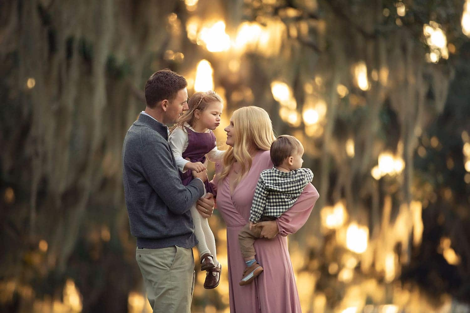 family photo at sunset by Annie Whitaker Photography