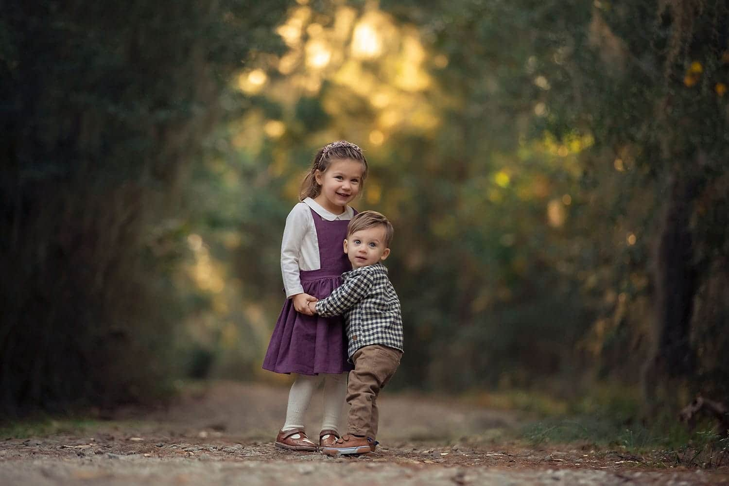 brother and sister in fall colors by Annie Whitaker Photography