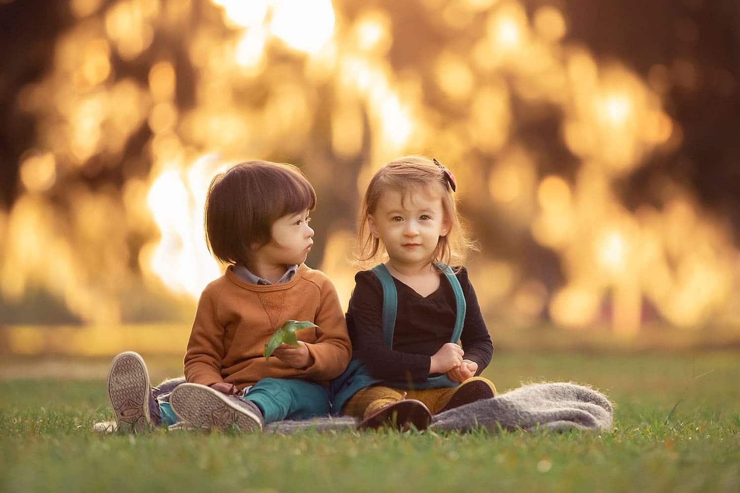 two year old twins at sunset by Annie Whitaker Photography