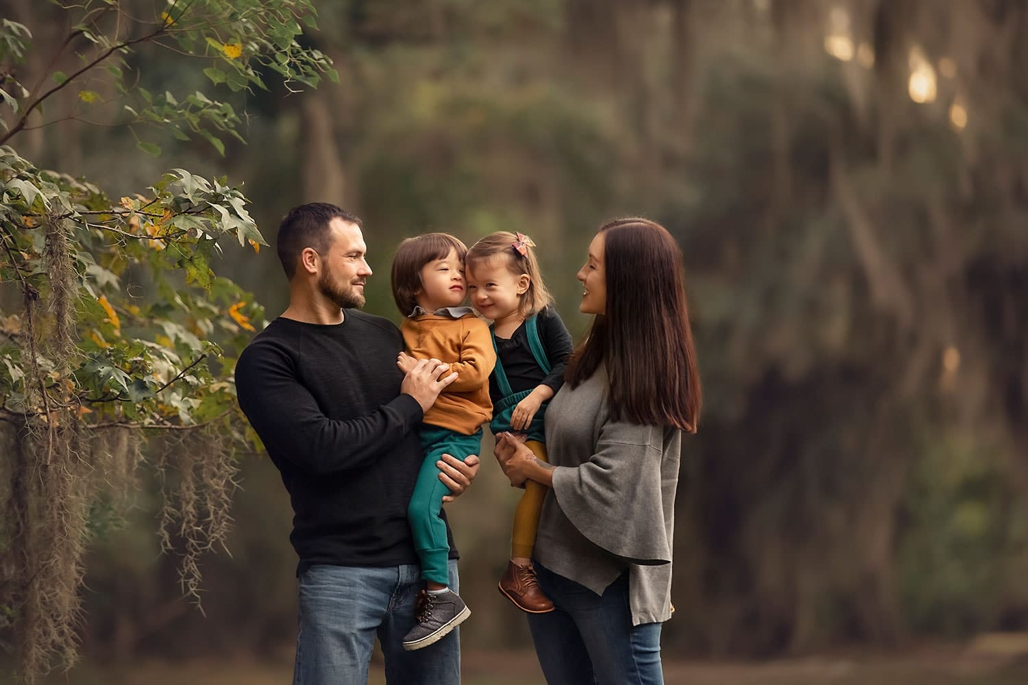 Beautiful Family photo with 2 year old twins at Fontainebleau State Park