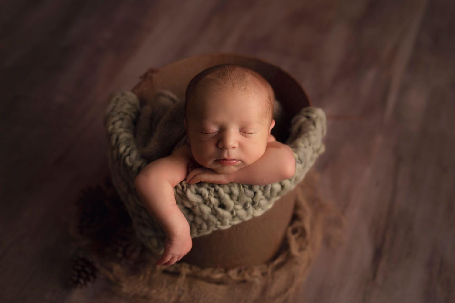 Baby boy in bucket pose by Annie Whitaker Photography