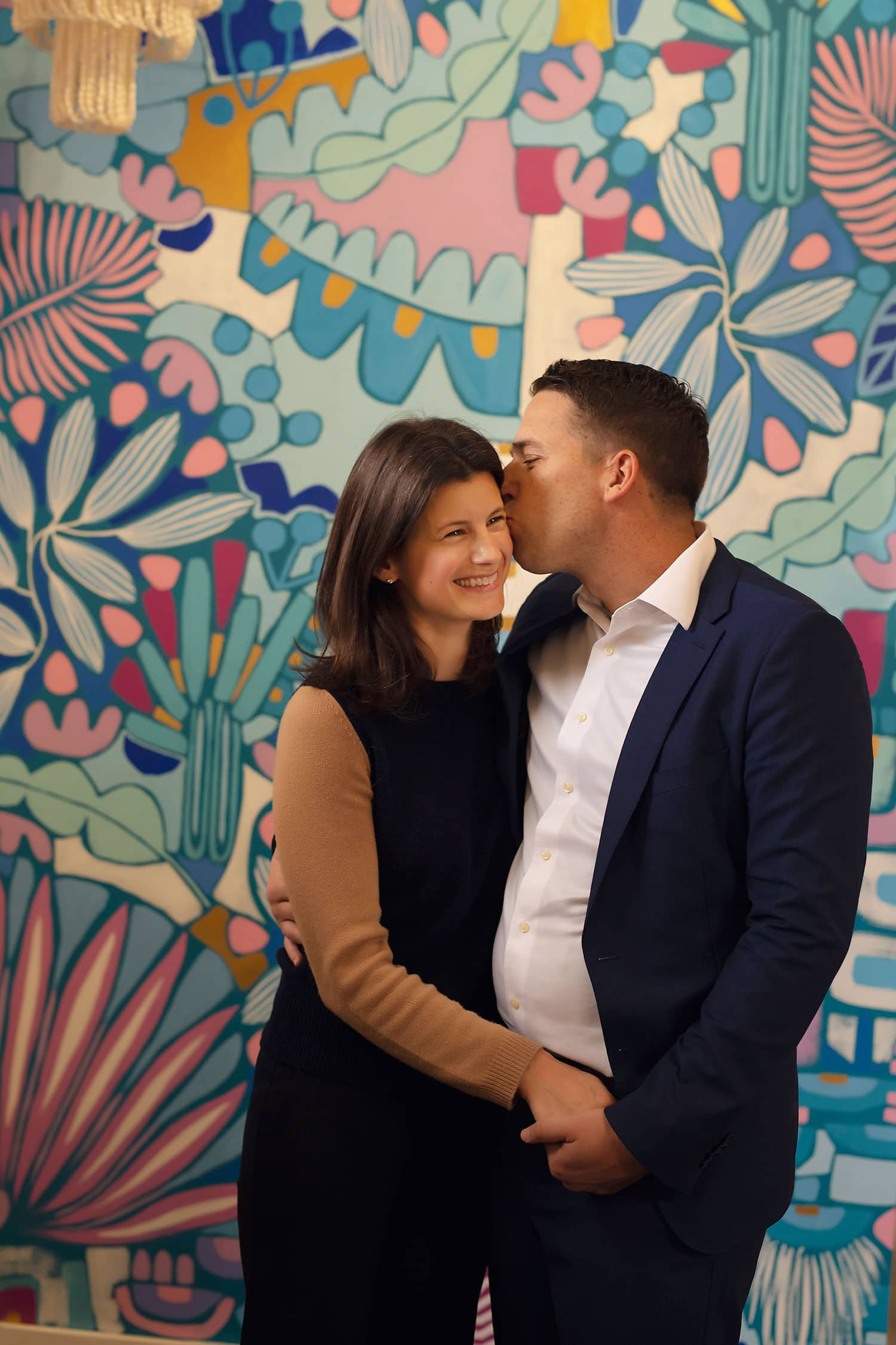 husband and wife at downtown covington art gallery