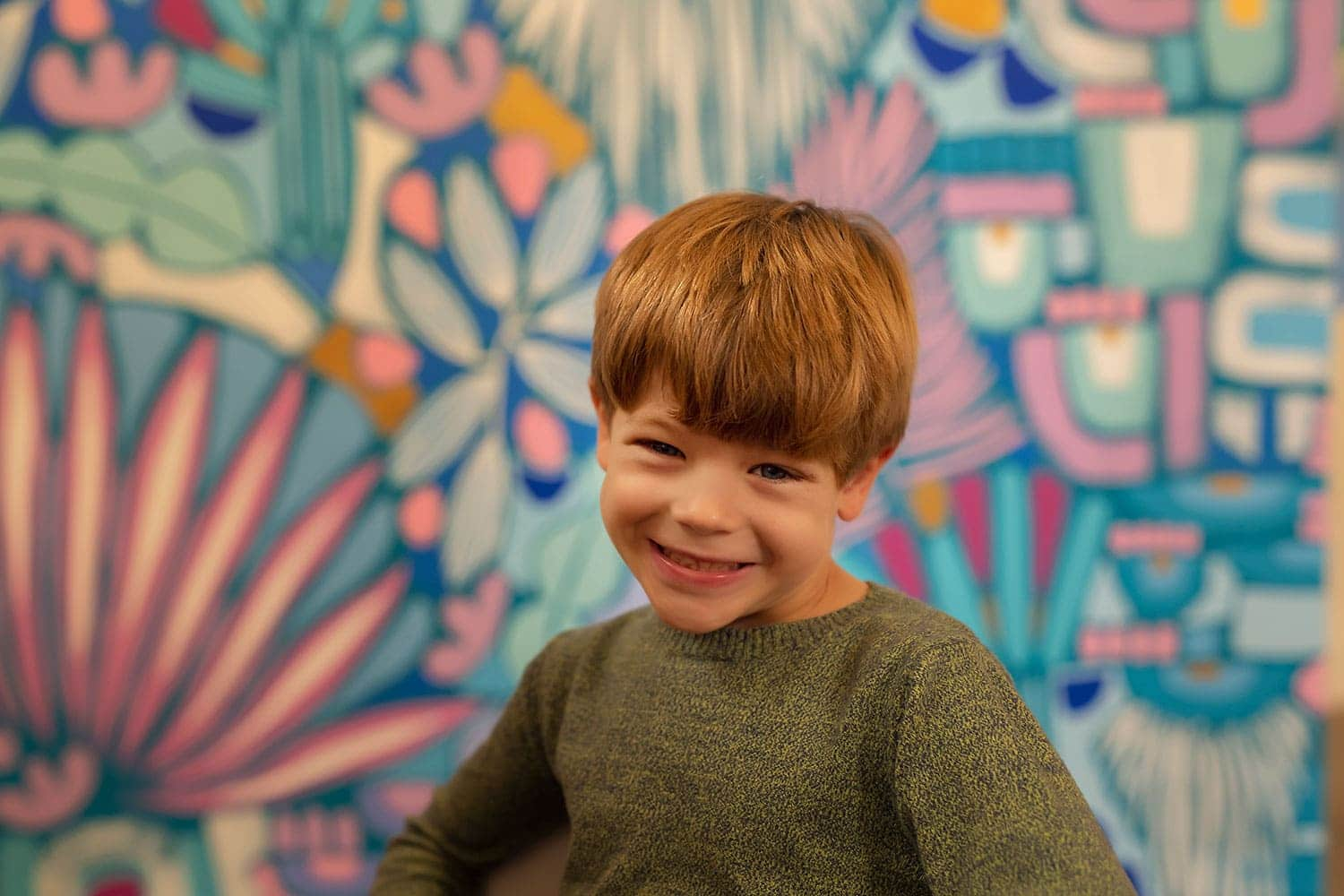 5 year old boy at art studio by Annie Whitaker Photography