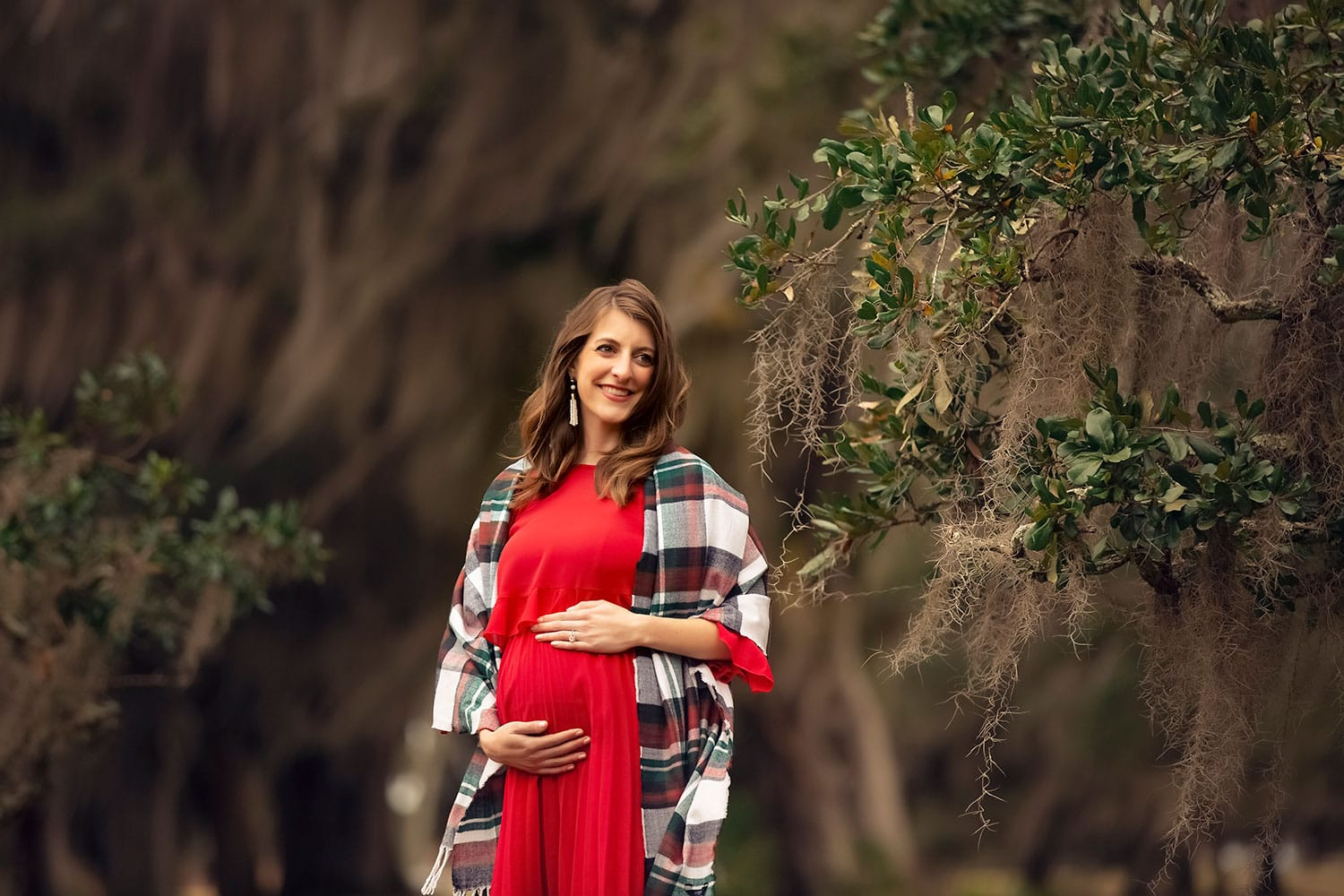 Pregnant lady with Christmas scarf