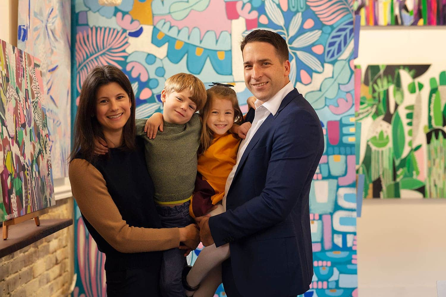 family of four at art gallery in Covington LA