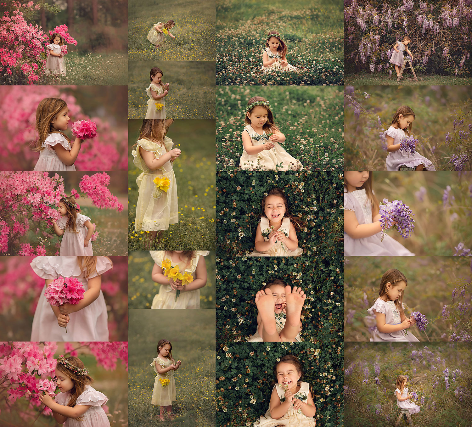 Stunning photos of a four year old girl with wild flowers in downtown Covington LA