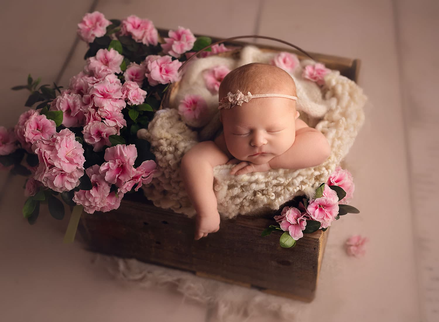 Perfect bucket pose with newborn girl and pink flowers